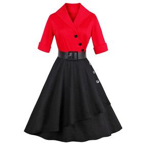 cdbbc2e36 Vendimia Color Bloque Abotonado Llamarada Vestido Chal Colla