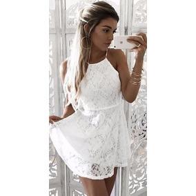 a34b5320c Vestido Branco Frente Unica De Renda - Vestidos Femininas Azul no Mercado  Livre Brasil