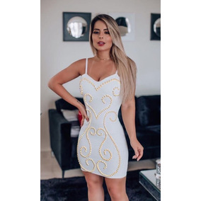 60d2ae8e1 Ombreiras Bordadas Perolas Tamanho G - Vestidos Casuais Curtos G Femininas  no Mercado Livre Brasil