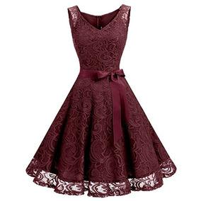 Vestido De Encaje Color Vino Marca Dressystar Talla Xs
