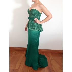 59862709b3 Vestido De Festa Madrinha Verde Tomara Que Caia Renda Peplum