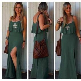 988fd8a15 Vestido Longo Casual Com Fenda - Vestidos Casuais Longos Femininas ...