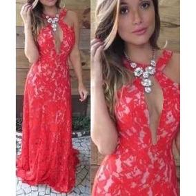 91310c5ed Vestido De Festa Renda Tule Decote Casamento Madrinha Moda ...