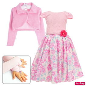 4567f5dbdd Vestido Infantil Floral Jardim Festa Social Bolero E Luvas