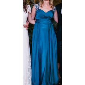 3aa8d5668 Fabuloso Vestido Azul De Fiesta Ideal Madrina Boda O 15 Años ...