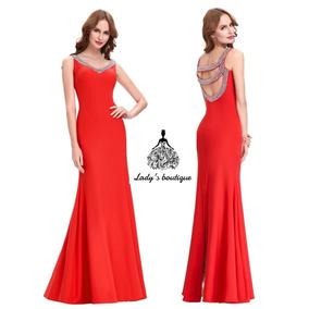 500a9205d6 Hermoso Vestido Rojo Carmesi Tela Vestidos De Noche Largos ...