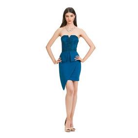 896a25f6f Vestido Corto Strapless Falda Ajustada Eva Brazzi