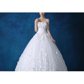 8f2e3a074 Vestido Novia Xv Años Strapless Flores 3d Perlas Princesa
