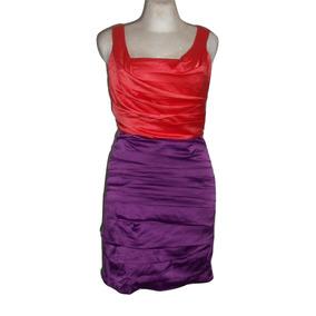 4f4addc708 Express Vestido Bicolor Coral Y Morado Satinado Talla 4