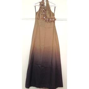 00ecb31f724 Vestido Comprido De Festa Ellouva Bronze + Echarpe