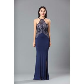 0b5e80a53f Vestido Festa Longo Azul Marinho Escuro - Vestidos Azul marinho em ...