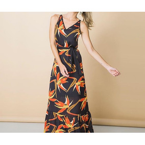 6d2f69d4c Vestido Seda Estampado Flores Datskat Nova - Vestidos Femininas no ...