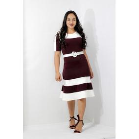 2e42c45b6bb5 Vestido Justo Moda Evangelica - Vestidos Femininas Bordô no Mercado ...