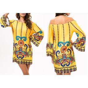04af6a87a3 Minivestido Amarillo Impresión Campesino Moda Asiática