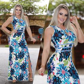 5da1960a14 Vestido Longo Com Decote Barriga - Vestidos no Mercado Livre Brasil