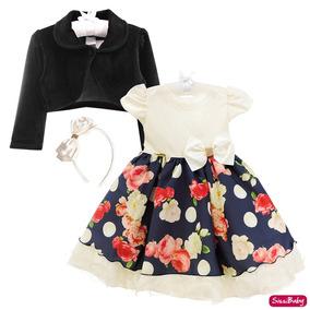 0c7377526e Vestido Infantil Floral Jardim Festa Social Casamento Bolero
