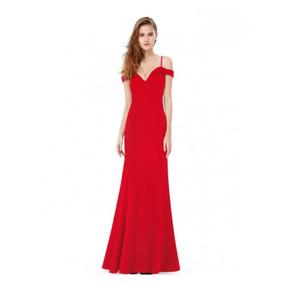 3be67627d Vestido Largo De Fiesta Corte Sirena Hombros Caídos Dama