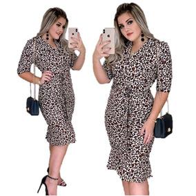 84672b31f Vestido Evangélico Moda Animal Print Oncinha Roupas Feminina