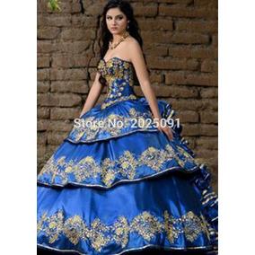 ad3e5da597 Vestidos De 15 Años Azul Rey De Charra - Ropa