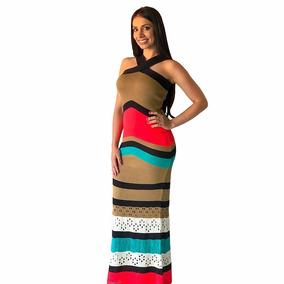 102db5e5a Vestido Feminino Longo Tricot Tricô Listra V Renda Inverno. 9. 90 vendidos  - Minas Gerais · Vestido Longo De Tricô Tricot Com Rendado Festa Listrado