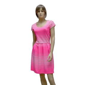 8326f7a37 Vestido Fluorescente A Rayas Con Falda En Tablones Muy Lindo