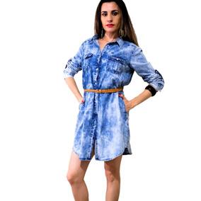 1166b9bc7b Vestido Jeans Manga 3 4 - Vestidos Casuais Femininas em Brás