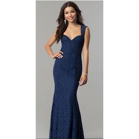 8b1f207ca Vestido Largo Color Azul Marino Corte Sirena Talla 4
