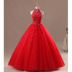 70f1cea9d7 Vestido De 15 Xv Años Rojo Dulces 16 Pedreria Escote Halter