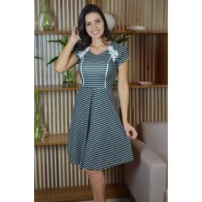 fbe014e39 Vestido Maria Amore 1780 Preto Com Listras Brancas