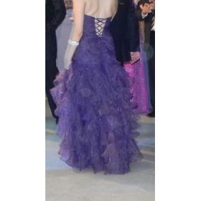 b75026571 Vestido De Festa Longo Formatura Casamento Organza Luxo Roxo