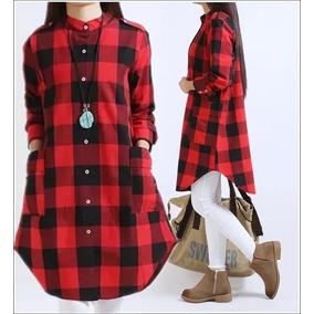 97527c414eaad Kit 2 Vestidos Camisa Feminina Xadrez Moda Fashion Longline