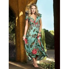 cb3fd4e43 Vestido Longo Vest Prado Com Elástico Verde Água Floral