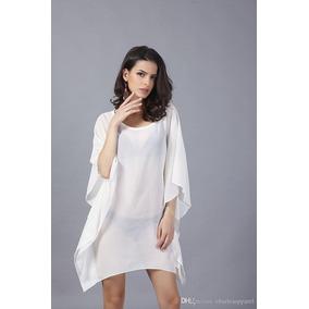 6af51b7c7 Vestido Branco Manga Morcego - Vestidos Femininas no Mercado Livre ...