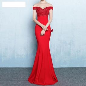 06433684326f5 Vestido Fashion Lentejuelas Fiesta Boda Grados Cocktail Rojo