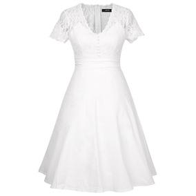 100492be2d3d0 Vestido Blanco De Encaje Escotado Con Mangas - Ropa