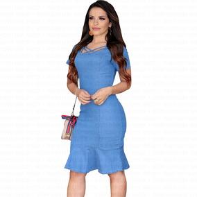 a37a5b85d1 Vestido Jeans De Babado Modelo Vestidos Feminino Tamanho G ...