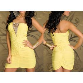 c7358457ea Minivestido Amarillo Strapless Moda Asiática