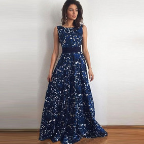 a425788e7a2da Vestidos Noche Largos Fiesta Elegante Estampado Moño Moderno