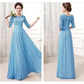 51c5cba7c Vestidos Largos Noche Color Azul Petroleo De Coctel Mujer - Vestidos ...