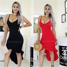 496b49d76 Vestido Com Ziper Inteiro Atras - Vestidos Femininas Preto no Mercado Livre  Brasil