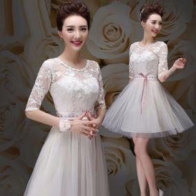 2371f16db Vestido Encaje Elegante Escote Ilusión Sensual Cintilla Tres