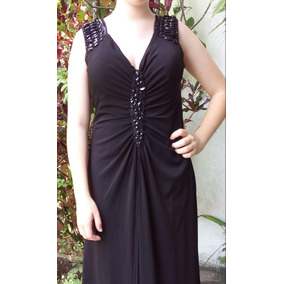 e4a4bb8a6 Precioso Elegante Vestido Negro De Fiesta Largo Con Pedreria