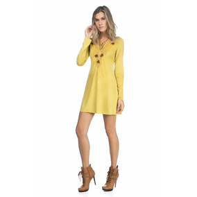 663c97671 Vestido Suede Manga Longa - Vestidos Casuais Curtos Femininas no ...