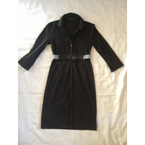 Vestido Camisero Bluson Negro Elasticado Express Design T/38