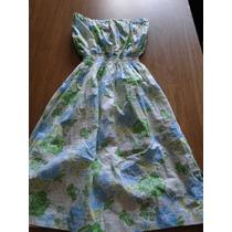 Vestido Strapless De Algodon Y Lycra. Talle 2.
