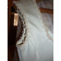 Imperdible Vestido De Novia Con Capa Raso Natural Talle 42 T
