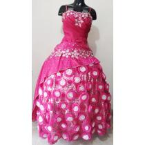 Vestidos De Quince Años Usado Color Fucsia Con Piedrería