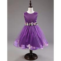Vestido Infantil Purpura Con Flores En Faldón Y Cinto Floral