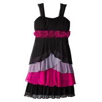Vestido Fiesta 3 Colores Rosas Brillantes Talla 12 Y 14