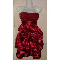 Vestido De Fiesta Corto Rojo Oscuro/bordó Strapless